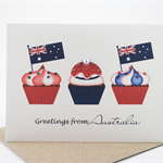 Australia Card - 3 Cupcakes with Flags - Greetings from Australia - AUS009