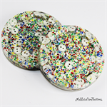 Rainbow Fleck / Splat Buttons Drink coasters / paperweights - 2 set - Resin