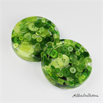 Lime Green Buttons Drink coasters / paperweights - 2 set - Resin