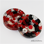 Red Black White Buttons Drink coasters / paperweights - 2 set - Resin
