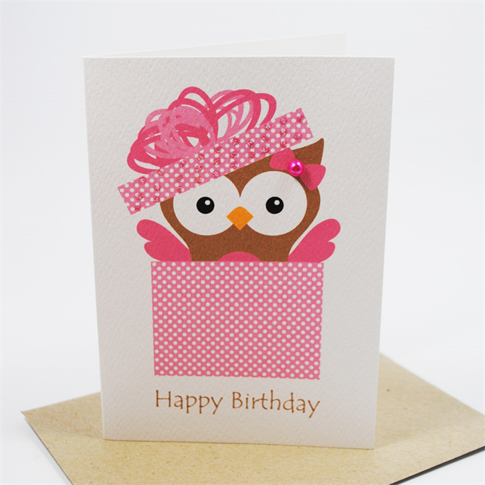 Happy Birthday Ideas Card ~ Happy birthday card female owl in pink box hbf mum and me handmade designs