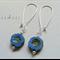 Argentium  Sterling Silver range - cornflower blue flower bead earrings