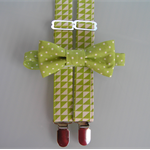 Boys bowtie and suspender set- braces, triangles, spots, lime green, party