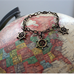 Ships Wheel - Antique Look Charm Bracelet - Travel Sailor