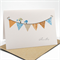 Baby Boy Card - Bunting 6 Flags Brown and Blue with Birds - BBYBOY029