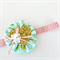 Ruffle Bloom Headband - Glitter Love Heart - Glitz Mint Fabric