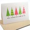 Merry Christmas Card - 5 Pink and Green Christmas Trees - XMS029