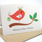 Merry Christmas Card - 1 Red Christmas Birdie on Branch - XMS023