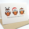 Merry Christmas Card - 3 Brown Christmas Owls - XMS022