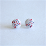 vintage fabric covered button earrings