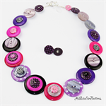 Pearly Spotty Pink Purple Mauve Fuchsia - Button Necklace - Earrings - Jewellery