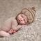 Baby pixie elf fairy bonnet hat with chin strap tan beige brown boy girl newborn