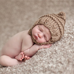 Baby pixie elf fairy bonnet hat with chin strap tan beige brown boy girl newborn