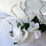 White Floral Bridal Hairpiece