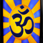Unique handmade 3d wax sculpture painting framed of OM symbol with led lights up