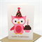 Happy 1st Birthday Card - Girl - Pink Party Owl with Cupcake - HBC093