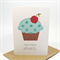Happy Birthday Card - Cupcake Blue Polkadots - HBC073