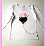 MaisyMoo Designs 'Tweety Love with Hearts & Spots'  girl's top. 6mth - 4 yrs