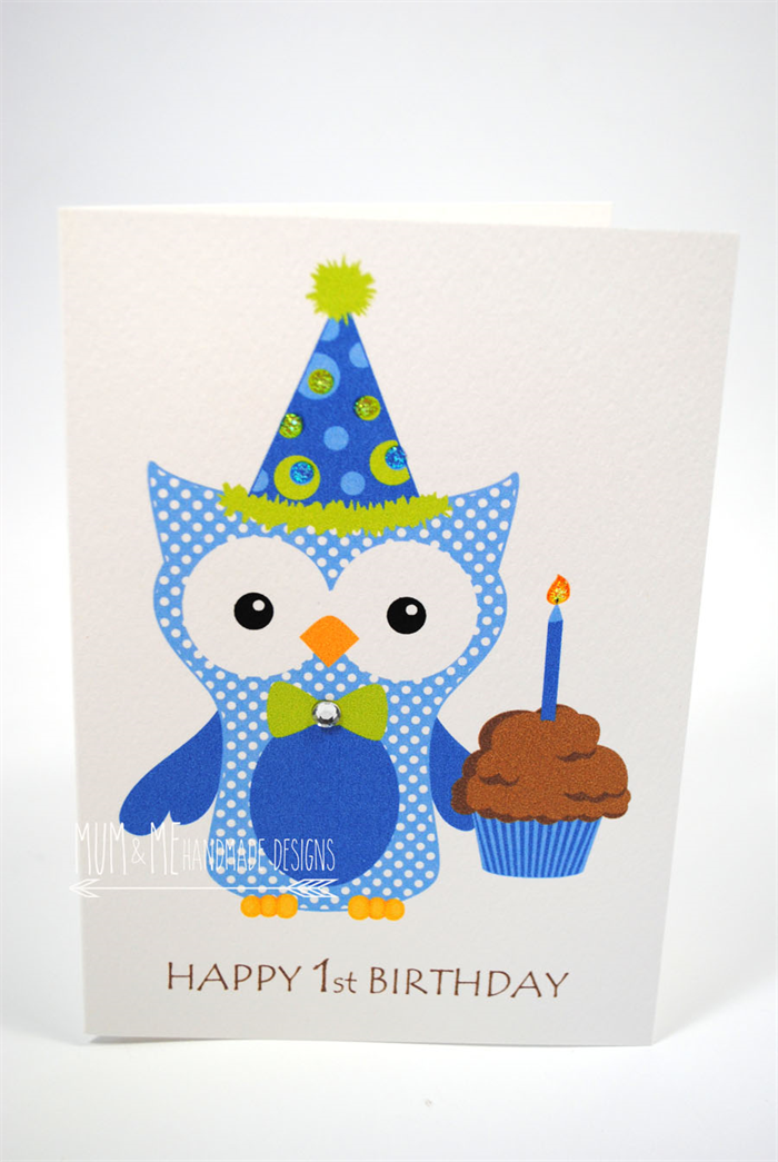 1st Birthday Cupcake Boy Happy 1st Birthday Card Boy