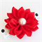 Ruby Red Satin Flower on a playful, white, black and silver polka dot hair clip