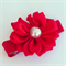 Ruby red satin flower hair clip