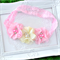 Pink & Ivory Flower Trio Headband on Pink Lace