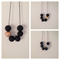 Black with either Gold/Silver/Copper Polymer Clay Necklace