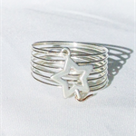 Silver wire wrap ring, silver star ring, statement ring