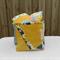 Fabric box, mustard yellow and blue flowers