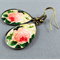 Teardrop Earrings - Pink Rose Resin Cabochon