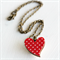 Red and White Polka Dot Wood Heart Necklace