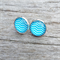 Glass dome stud earrings - blue and white chevron
