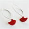 Long Red Bird Earrings