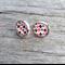 Glass stud earrings - multi coloured geometric