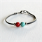 Jade and Red Swarovski Pearl Beads and Black Rubber Bracelet