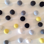 Felt Ball Garland White, Light Blue, Grey, Off-Black, Black, Yellow