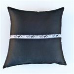 Black Silk Cushion Cover with  Silver Grey and Black French Horse Ribbon Trim