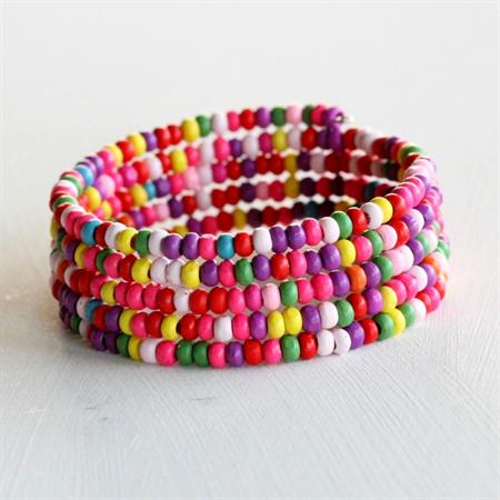Rainbow Wooden Bead Bracelet