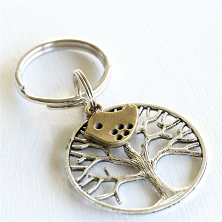 Tree & Bird Keyring - Silver and Antique Bronze