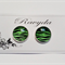 Green Zebra Design Stud Earrings