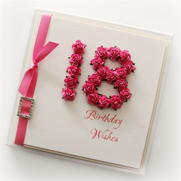 18th birthday card keepsake card gift boxed paper roses hot pink – Boxed Birthday Cards
