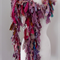 long raggy recycled silk scrap scarf hand crocheted