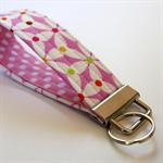 Wrist Key Fob - Flower pinwheels on pink with polka dots
