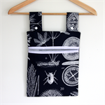 Laundry Fun Peg Bag - Insects and Plant Botanicals on Navy Blue