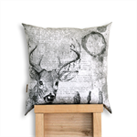 Oh Deer! Black & Grey scale Cushion Cover. Backed with Hemp/Yak Wool. Buck. Stag