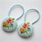 Button Hair Ties - blue floral