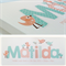 {PEACH & MINT BIRDIES} Personalised Door Sign ~ Custom Name Plaque 28x12cm