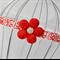 Red & White Flower Headband on damask elastic - newborn size
