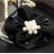 Black Satin Hairclip with cream pearls in Centre
