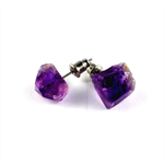CLOSING DOWN SALE Raw gemstone Amethyst Purple Quartz Crystal Post Stud Earrings